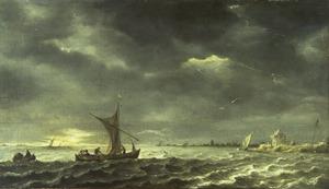 Riviergezicht bij opkomend onweer
