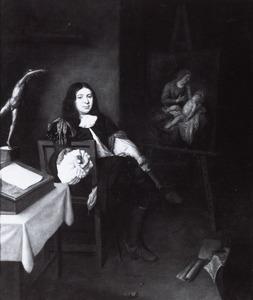 Portret van een schilder in zijn werkplaats
