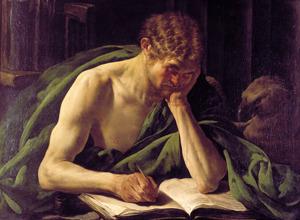 De evangelist Johannes zijn evangelie schrijvend