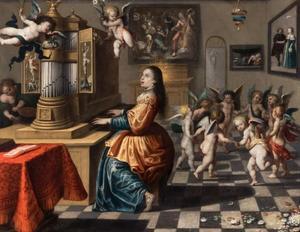 De H. Cecilia spelend op een orgel met dansende putti