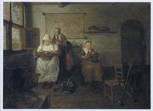 Twee vrouwen en een meisje in een interieur, kantklossend.