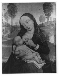 Maria met kind aan de borst in een landschap