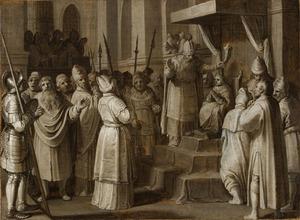 Joas door hogepriester Jojada gezalfd en gekroond (2 Koningen 11:12)