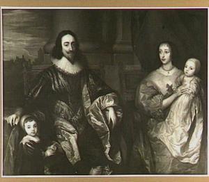 Portret van Karel I en Henriëtte Maria van Engeland, zittend met hun twee oudste kinderen met op de achtergrond de Theems bij Westminster
