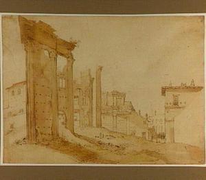 Ruïne van de tempel van Minerva en het Forum van Nerva te Rome