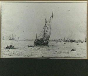 Zeilschip bij haven