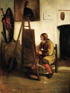 Jonge schilder in een atelier