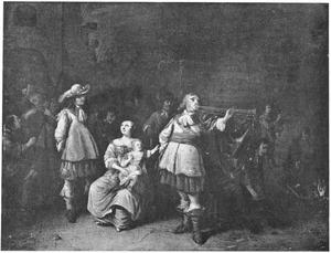 Een wachtlokaal met een soldaat, die op een trompet blaast