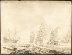 Schepen voor de haven van Hoorn