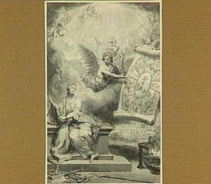 Een engel toont een geketende Christin uit de Romeinse tijd afbeeldingen van de marteldood van Christus en zijn apostelen