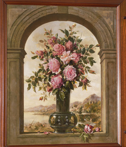Bloemenvaas in trompe l'oeil omlijsting met landschap op de achtergrond
