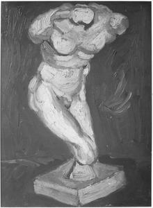 Beeld in gips: mannelijke torso gezien van voren naar rechts