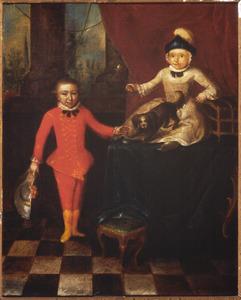 Portret van twee jongens met een hond