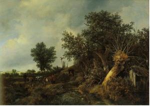 Duinlandschap met een wilgenboom