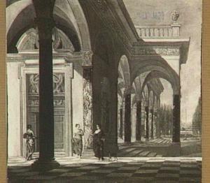 Enkele figuren bij een paleis