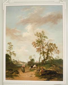 Boerengezin op een landweg, met in het verschiet kasteel Roermont bij Renesse