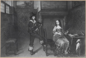 Portret van een musicerend echtpaar in een interieur