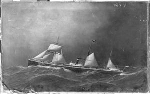 """Het stoomschip """"Pollux"""" van de Koninklijke Nederlandse Stoombootmaatschappij"""