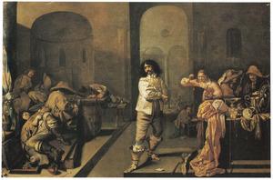 Slapende soldaten en een jong vrouw die de buit bekijkt in een wachtlokaal