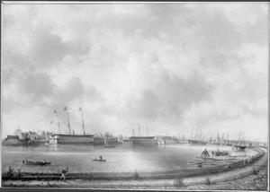Gezicht op het Oosterdok en de Rijkswerf te Amsterdam gezien vanaf de Oosterdoksdijk