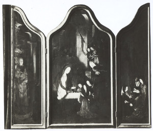De H. Jozef met de verkondiging aan de herders (links), de geboorte (midden), musicerende engelen (rechts)