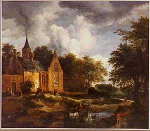 Boslandschap met kerkgebouw