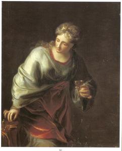 Artemisia II, koningin van Caria, drinkt de as van haar man Mausolos