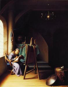 Schrijvende man bij een schildersezel
