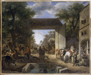 Jaarmarkt voor de ingang van een herberg