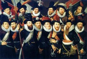 Korporaalschap van kolonel Gijsbert Hendricksz. 't Hart en zijn (onder)officieren, 1619, met wellicht een zelfportret van de kunstenaar, rechtsboven