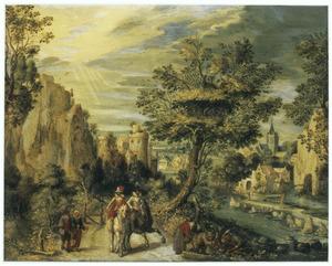 Ruiters, wandelaars en houthakkers op een weg langs een rivier