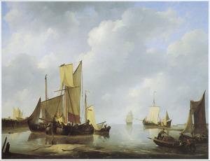 Voor anker liggende schepen bij kalm water