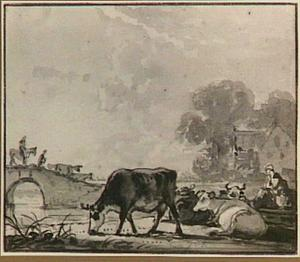 Herders en koeien bij een brug