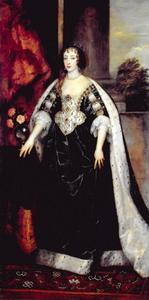 Portret van Henriëtte Maria de Bourbon (1609-1669), koningin van Engeland, in een donkerblauw staatsgewaad met haar kroningsmantel om haar schouders