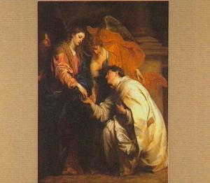 De zalige Herman Jozef knielend voor de Madonna