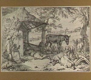 Boeren en vee bij een schuur