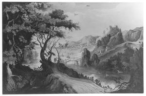 Weids rivierlandschap met reizigers