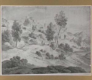 Bergachtig rivierlandschap met dorp op een rots