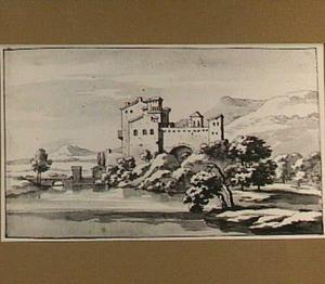 Italianiserend heuvellandschap met fortificatie aan een rivier