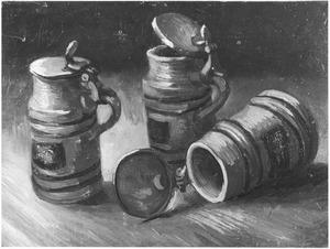 Stilleven met drie bierpullen
