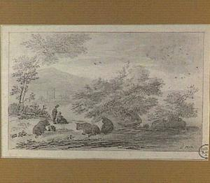 Italianiserend heuvellandschap met koeien en herder aan de waterkant