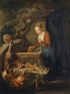 Jonge vrouw, water puttend uit een bron