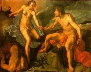 Mercurius geeft Juno de ogen van Argus