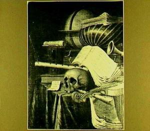 Vanitasstilleven met schedel, muziekinstrumenten en globe