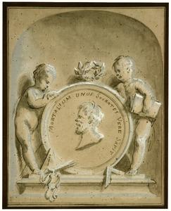 Socrates in een medaillon met putti
