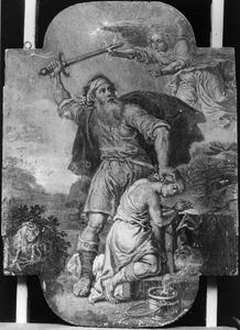 Het offer van Abraham: Een engel weerhoudt Abraham om Isaak te offeren (Genesis 22:10-12) (Genesis 22:10)
