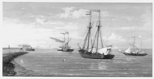 De poolschoener 'Willem Barents' wordt de haven van IJmuiden binnengesleept, 6 mei 1878
