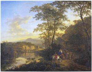 Zuidelijk landschap met ruiters en een ossenwagen; in de verte de Ponte Lucano over de Aniene en het graf der Plautii