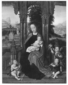 Tronende Maria met kind en engelen