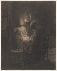 Naaiende vrouwen bij lamplicht